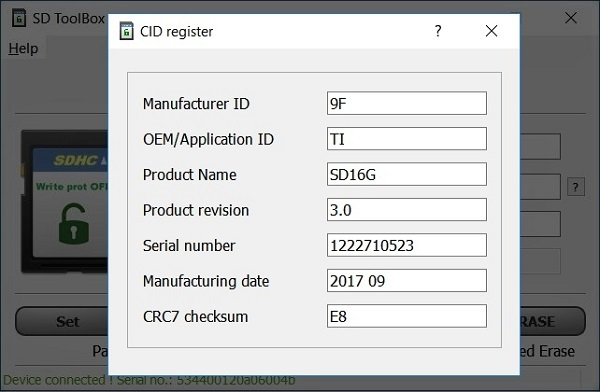 Read CID, Lock / Unlock SD card with password & remove write
